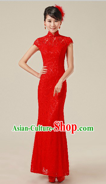 Traditional Chinese Wedding Red Lace Cheongsam Qipao and Hair Accessories for Brides