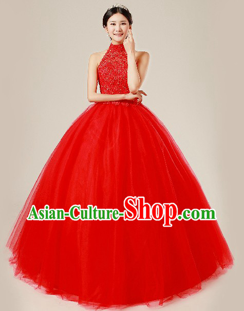 Traditional Chinese Classical Red Wedding Veil for Brides