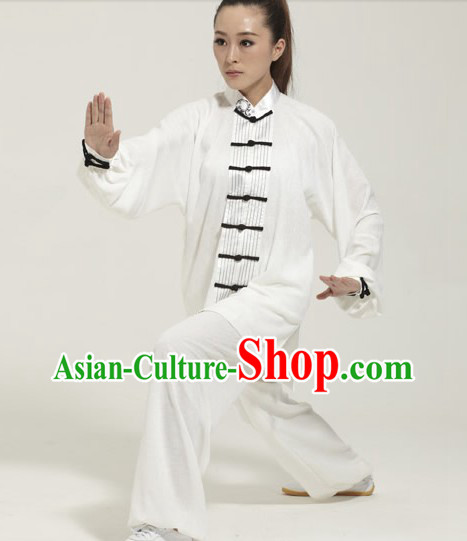 Traditional Chinese White Kung Fu Martial Arts Uniform