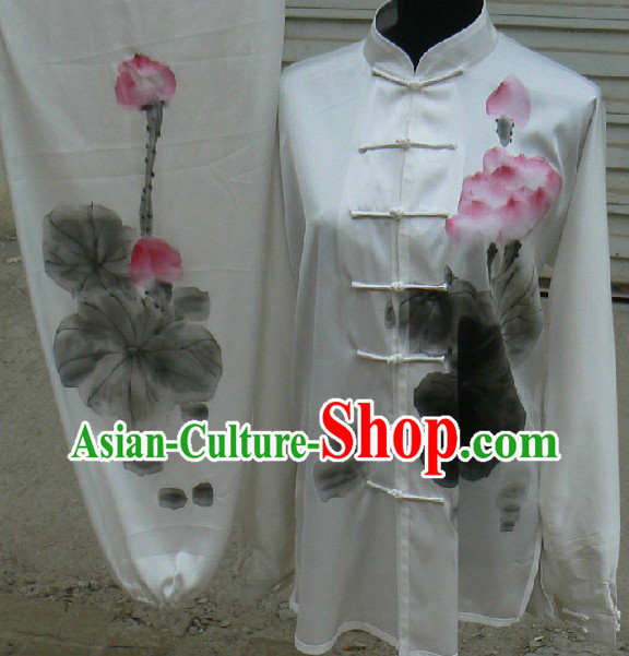 Traditional Chinese White Hand Painted Lotus Kung Fu Uniform