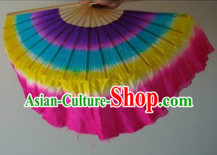 Rainbow Color Chinese Silk Dance Fan