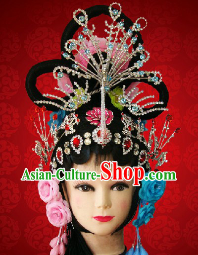 Chinese Classic Phoenix Coronet Hair Accessories and Long Wig