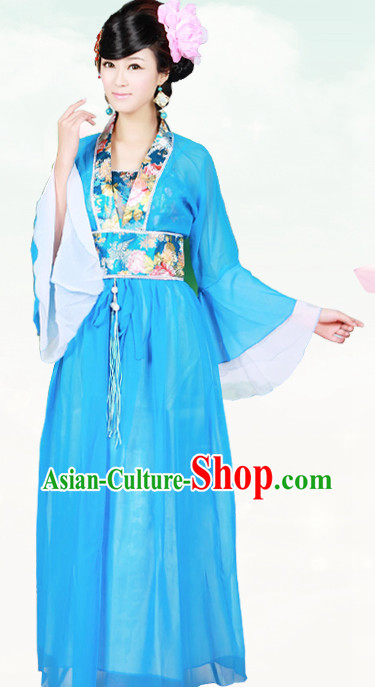 Ancient Chinese Blue Beauty Costumes