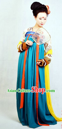 Ancient Chinese Tang Dynasty Female Clothing Complete Set for Women