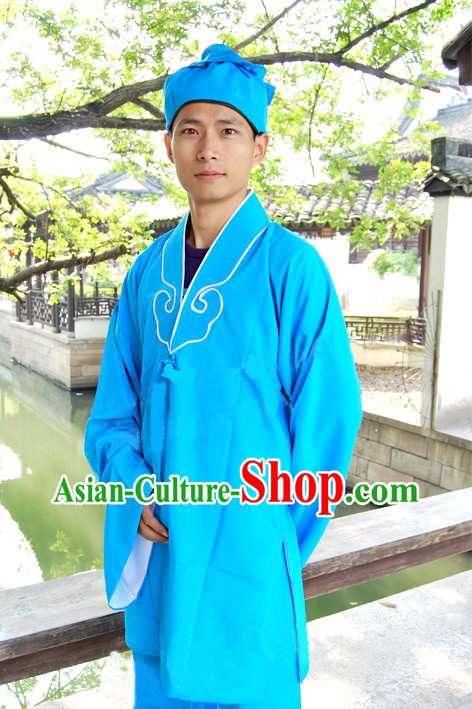 Ancient Chinese Servant Costume and Hat for Men