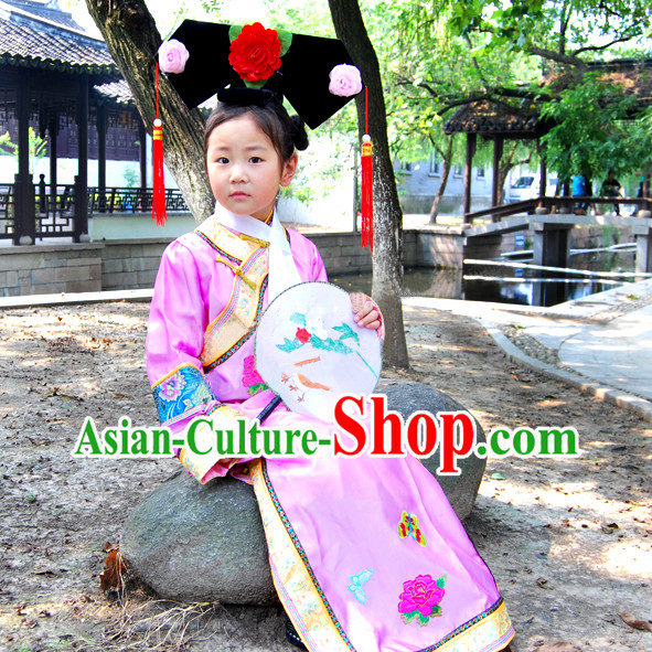 China Qing Dynasty Peking Imperial Palace Lady Costume and Hat for Kids