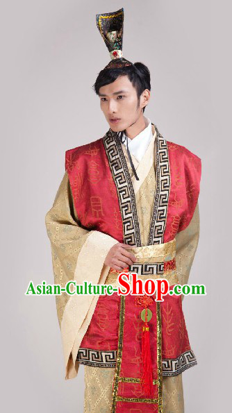 Ancient Chinese Minister Costume and Headpiece for Men