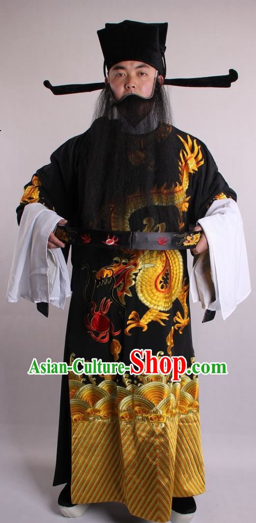 Traditional Chinese Golden Dragon Embroidered Robe for Men