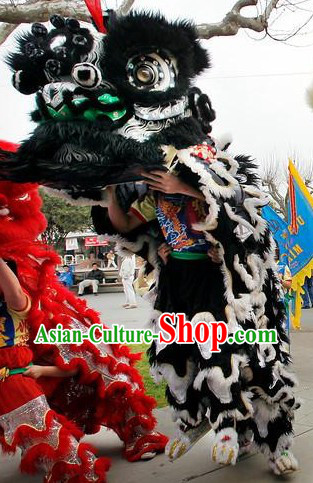 Black and White Standard Competition and Performance Lion Dance Clothing Complete Set