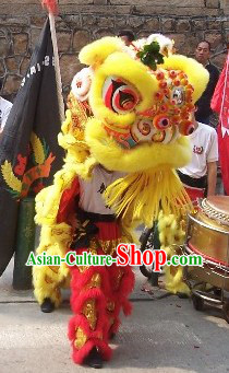 Red and Golden Performance and Parade Lion Dance Costume Complete Set