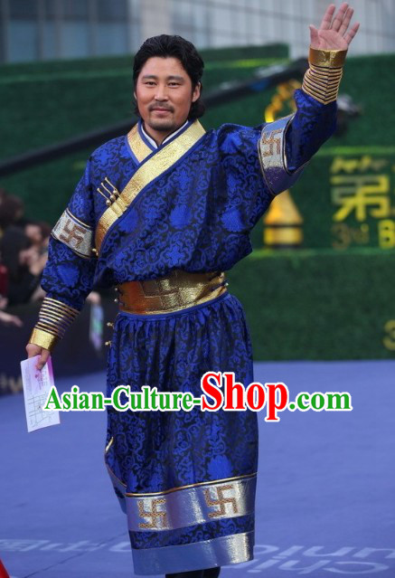Mongolian Traditional Male Costume Clothing Full Set