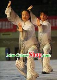 Grey Kung Fu Competition and Practice Costume for Women