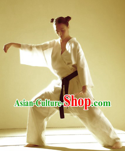 Pure White Martial Arts Gong Fu Practice Dresses for Women