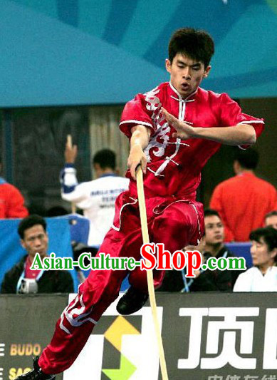 Red Southern Style Silk Kung Fu Uniform for Men