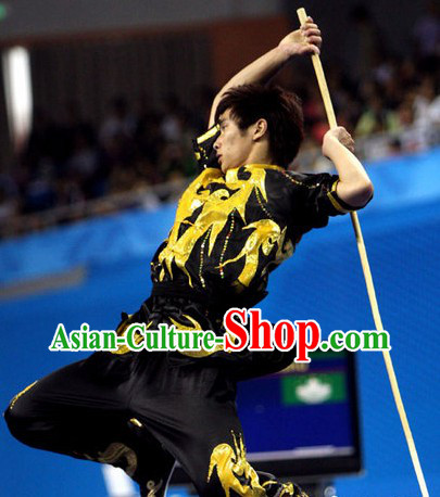 Dark Black Long Pole Martial Arts Training and Contest Silk Uniform for Men