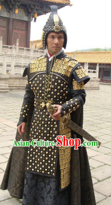 Ancient Chinese Palace Coup General Armor Costume and Hat for Men
