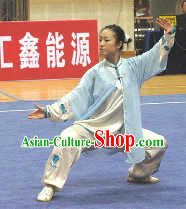 White Gong Fu Martial Arts Mandarin Collar Competition and Practice Outfit for Women