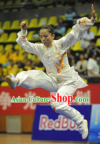 White Martial Arts Embroidered Dragon Competition and Practice Suit for Adult Women