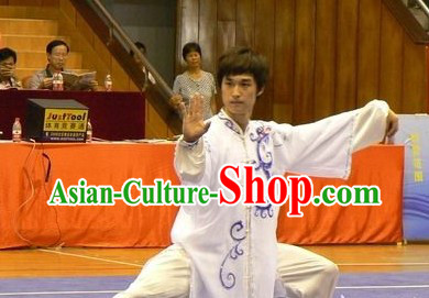 Pure White Taiji Clothing and Embroidered Veil Set for Men