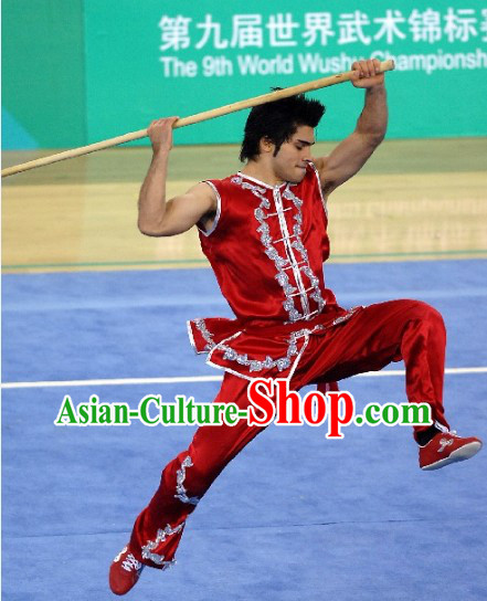 Red Short Sleeve Silk Kung Fu Martial Arts Training and Competition Clothing for Men