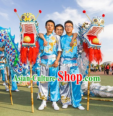 Blue and White Dragon Dancer Costume for Men or Women