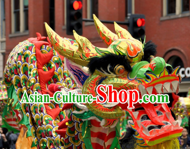 Chinese New Year Customs Community Ceremonial Dragon Dancing Costumes for Nine to Ten People