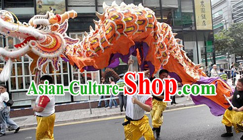 Orange Chinese New Year Big Dragon Dance Costumes