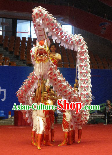 Shinning Silver and Orange Lightweight Net Competition Dragon Dance Costumes for Ten Students
