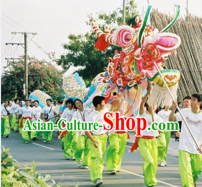 Supreme Big Ceremony Natural Wool Dragon Dance Head and Body Costume for 25 to 26 People