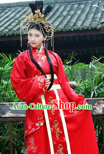 Ancient Chinese Red Wedding Clothing and Head Pieces for Brides