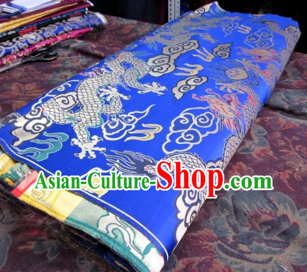 Blue Traditional Chinese Tibetan Dragon Pattern Robe Clothing Curtains Sofa Fabric