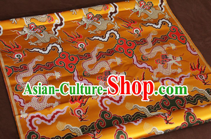 Yellow Traditional Chinese Dragon Pattern Tibetan Robe Cloth Fabric