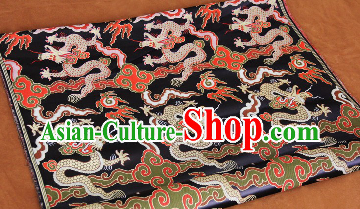 Black Traditional Chinese Dragon Pattern Tibetan Clothing Fabric