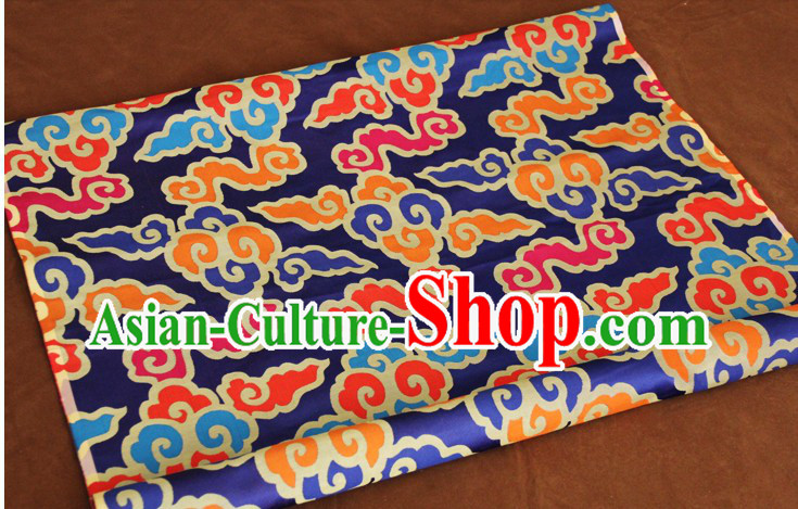 Blue Traditional Chinese Tibetan Fabric