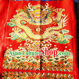 Red Traditional Chinese Tibetan Dragon Fabric