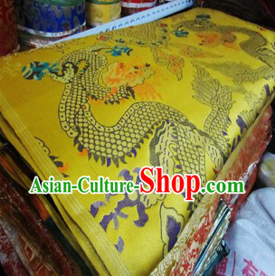 Golden Traditional Chinese Tibetan Dragon Fabric