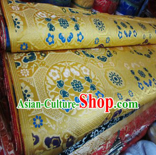 Golden Traditional Chinese Tibetan Clothing Fabric