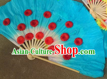 Traditional Chinese Christian Blue Dance Fan with Flowers