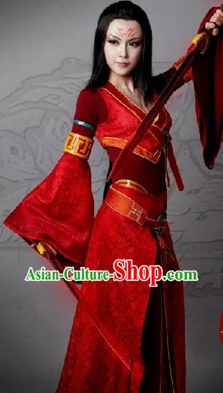 Ancient Chinese Red Swordswoman Knight Cosplay Costumes