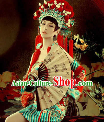 Chinese Peking Opera Phoenix Coronet, Fan and Dragon Robe Complete Set for Women