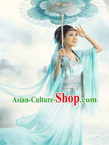 Ancient Chinese Blue Fairy Costumes and Umbrella