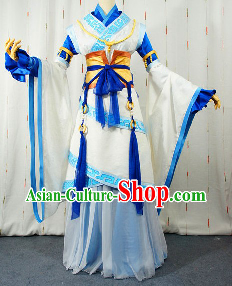 Ancient Chinese Blue and White Long Kui Fairy Cosplay Costumes Complete Set