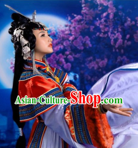Traditional Chinese Tibetan Style Wu Lan Tu Ya Clothing and Hair Accessories Complete Set
