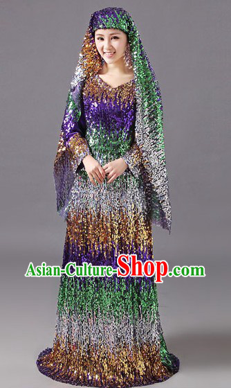 Traditional Chinese Muslin Hui Ethnic Dancing Costumes Clothing and Cape for Women