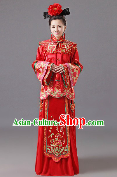 Ancient Chinese Red Wedding Suit for Brides