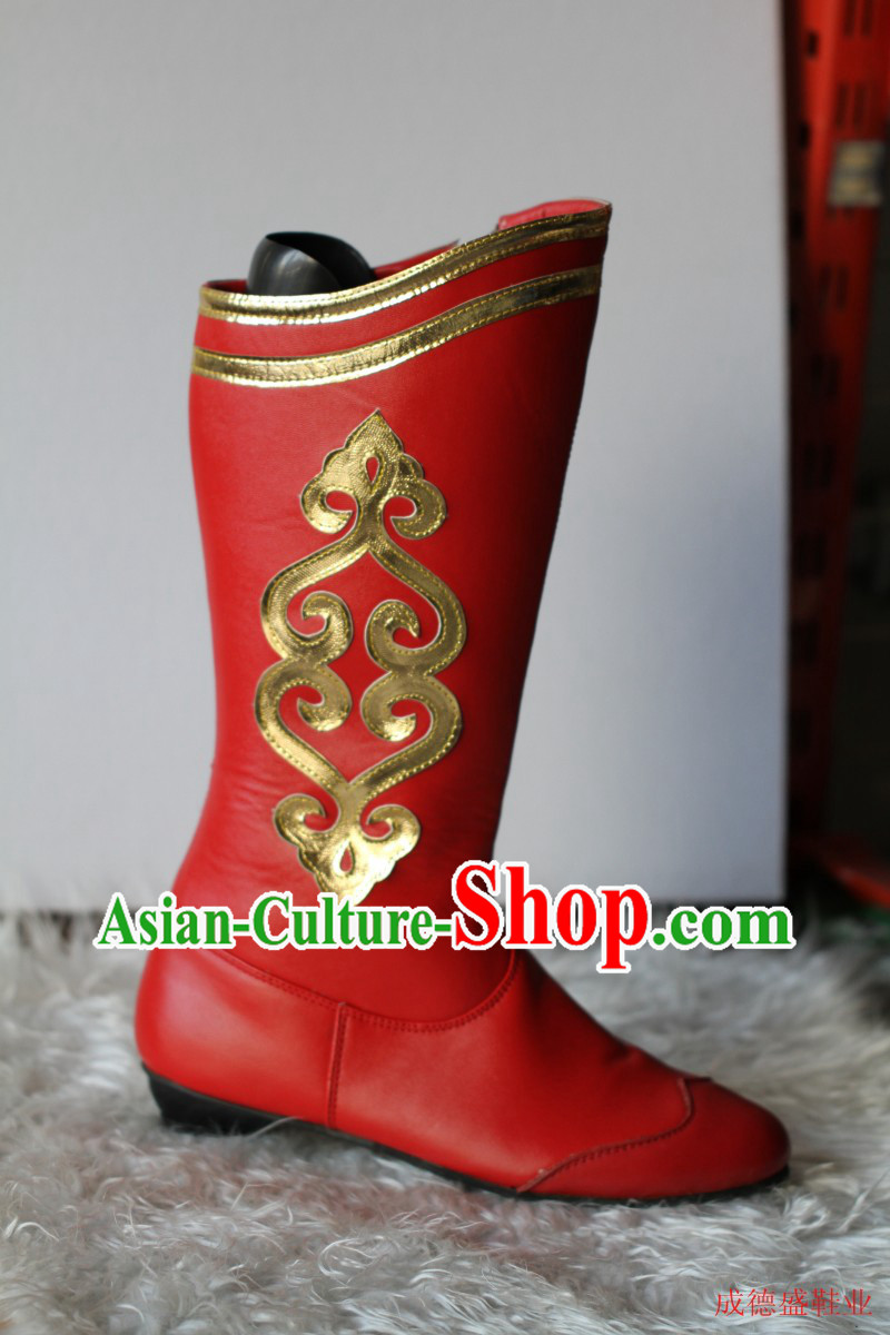 Traditional Red Chinese Mongolian Boots for Ladies