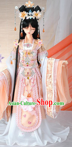 Ancient Chinese Wig, Hair Accessories and Flower Fairy Costumes Complete Set
