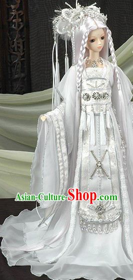 Pure White Ancient Chinese Adult Fairy Costume and Long Wig