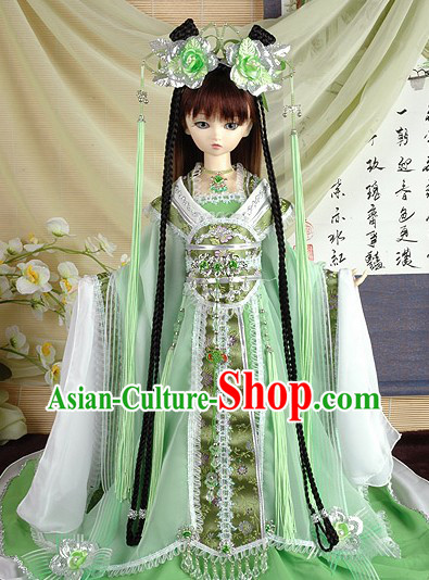 Light Green Ancient Chinese Clothing and Accessories for Teenagers