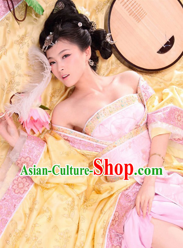 Ancient China Tang Palace Princess Dresses and Hair Accessories Complete Set